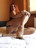 foot and leg show in the bedroom