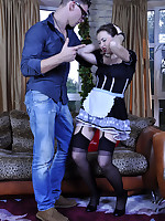 Black-stockinged French maid in a too short uniform gets dicked by a master